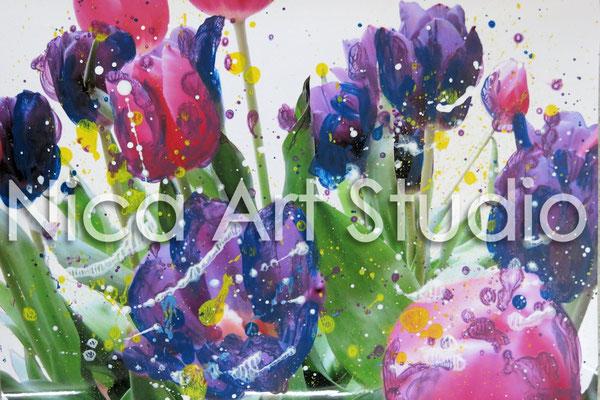 Tulpen, 2015, 30 x 20 cm, Fotografie mit Acrylfarbe