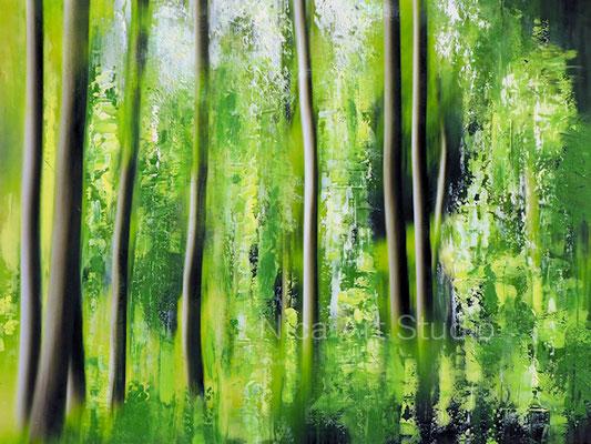 Bäume Abstraktion, 2021, 40 x 30 cm, Ölmalerei auf Fotografie