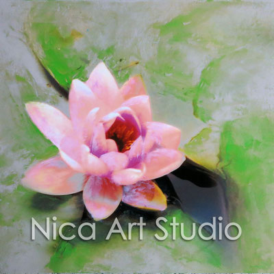Water lily, 2015, 20 x 20 cm, photograph with oil paint