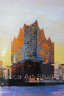 Elbphilharmonie mit orange, 2017, 2 : 3 Format, Print