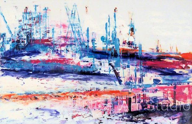 Hafen-Szenerie, 2017, 30 x 20 cm, Fotografie mit Ölfarbe
