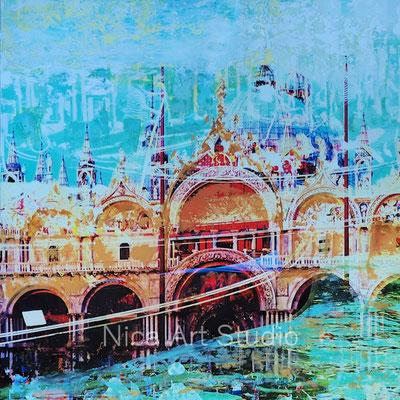 San Marco, 2018, 30 x 30 cm, Fotografie mit Ölfarbe