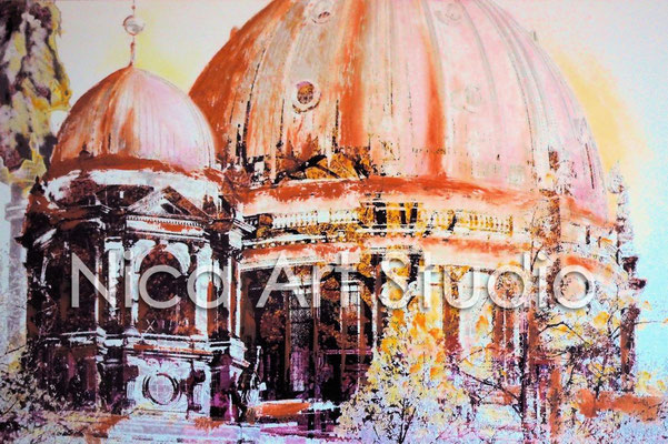 B10, Berlin Cathedral cupolas, 2015, 30 x 20 cm, photograph with oil paint