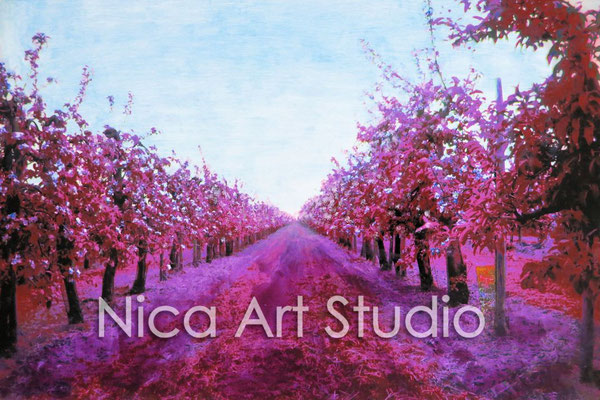 Fruit trees, 2015, 30 x 20 cm, photograph with oil paint