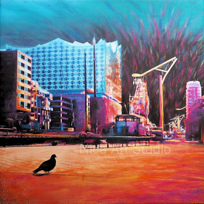 Hamburg during lockdown, 2020, 50 x 50 cm, canvas print with acrylic painting, pastel chalk