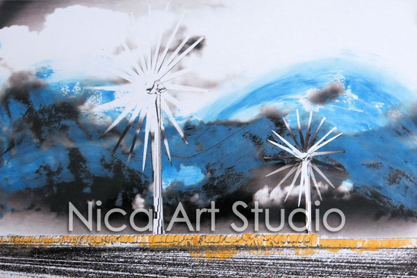 Wind wheels, 2015, 30 x 20 cm, photograph with oil paint