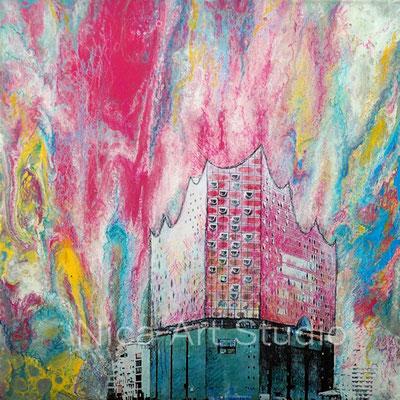 Sky with Ebphilharmony, 2017, 30 x 30 cm, aluminum print