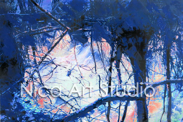 Blue, mirrored branches, 2015, 30 x 20 cm, photograph with oil paint