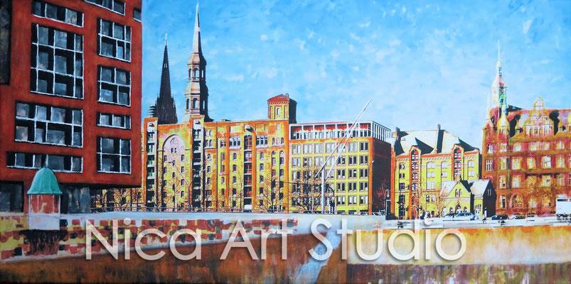 Speicherstadtfront, 2015, 80 x 40 cm, Print, Acrylfarbe auf Leinwand