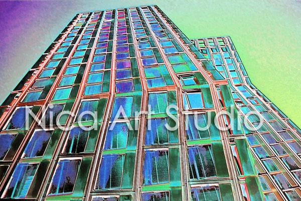 Tanzende Türme blau, 2015, 3 : 2 Format, Print