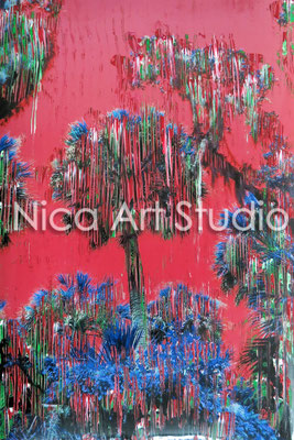 Palmtrees red, 2014, 20 x 30 cm, photograph with oil paint