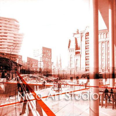 Hafencity, 2016, 80 x 80 cm, Print auf Alu Dipond