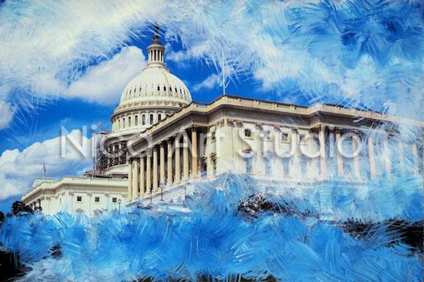 The Capitol, 2017, 30 x 20 cm, Fotografie mit Ölfarbe