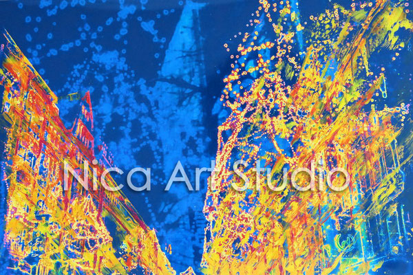 Mönckebergstraße abends, 2015, 30 x 20 cm, Fotografie mit Ölfarbe