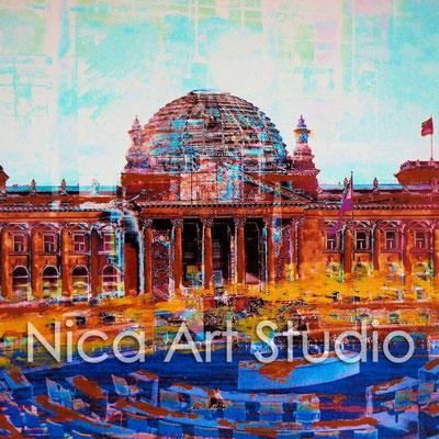 B8, Reichstag & Parlament, 2015, 20 x 20 cm, Fotografie mit Ölfarbe