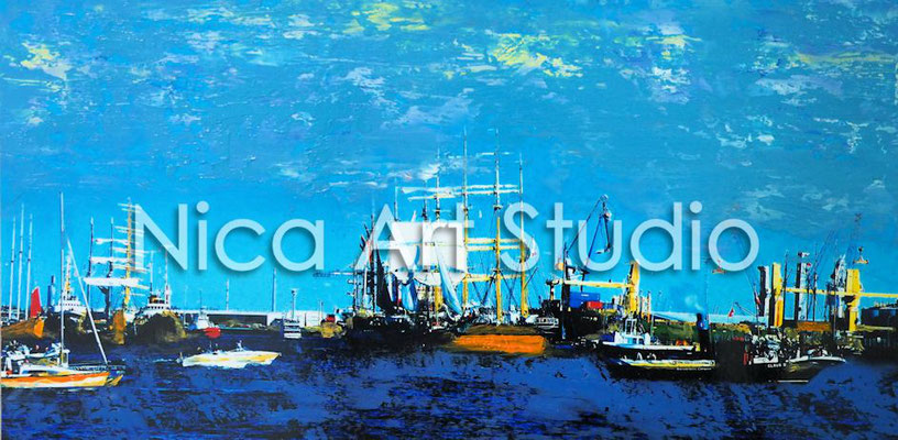 Parade of the boats, 2016,  30 x 15 cm, photography with oil color