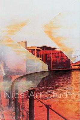 B42, Paul-Löbe-Haus und gegenüber, 2017, 20 x 30 cm, Fotografie mit Ölfarbe