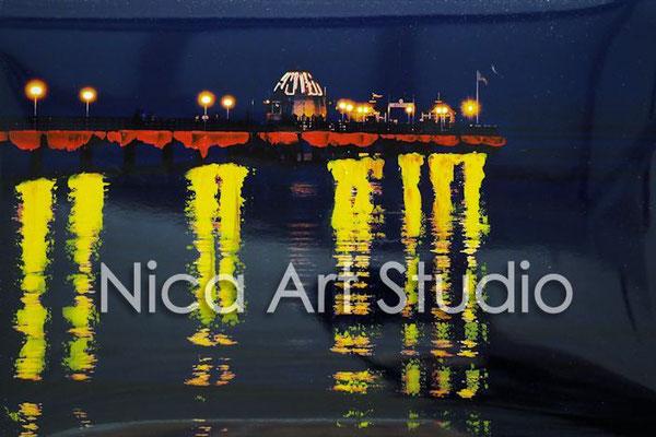 Pier bei Nacht, 2016, 30 x 20 cm, Fotografie mit Ölfarbe