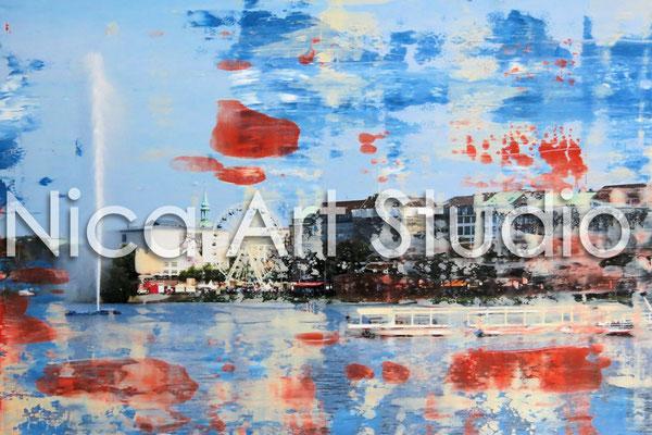 Alsterfontaine, 2014, 26,7 x 20 cm, Fotografie mit Ölfarbe