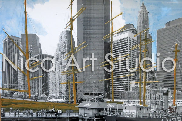 Seaport South, 2014, 30 x 20 cm, Fotografie mit Acryl- und Aquarellfarbe