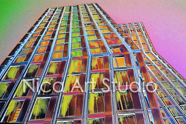 Tanzende Türme, 2015, 30 x 20 cm, Fotografie mit Ölfarbe