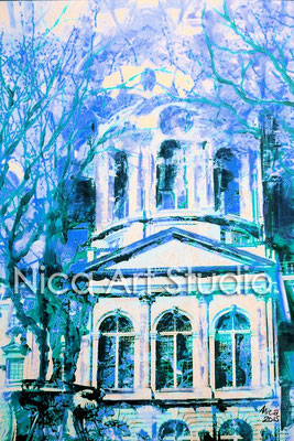 B4.1, Charlottenburg palace portal in blue, 2015, print