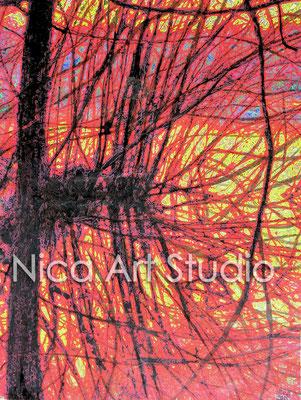 Gespiegelte Zweige, 2015, 40 x 30 cm, Papierdruck mit Aquarell und Moorlauge