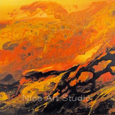 Herbst Abstraktion, 2017, 20 x 20 cm, fluid painting mit Acryl auf einer Fotografie