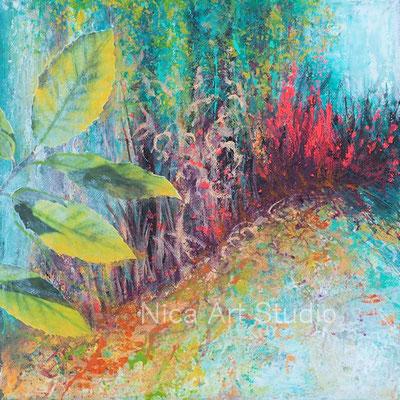 In den Wald, 2018, 30 x 30 cm, Collage und Acrylfarbe auf Leinwand