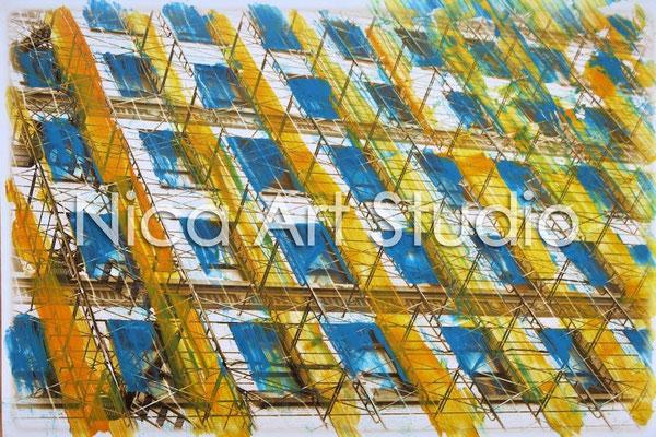 Fassade gelb-blau, 2014, 30 x 20 cm, Fotografie mit Ölfarbe