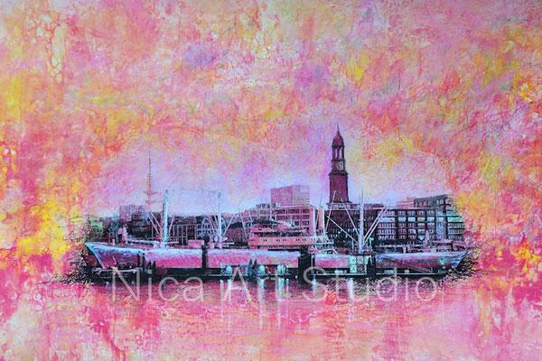 Waterside Landungsbrücken, 29 x 19 cm, Fluid painting with acrylics, transfer, pens, chalk, varnish