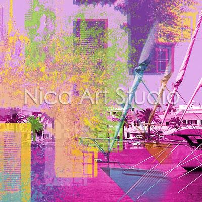 Die Bucht, 2013, 50 x 50 cm, Digitale Fotografie und Zeichnung auf Alu Dibond gedruckt, gerahmt