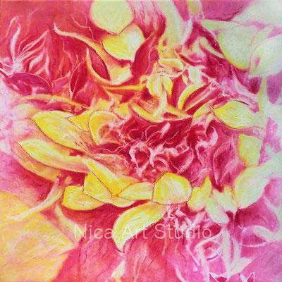 Blütenflug, 2018, 40 x 40 cm, Leinwanddruck mit Ölfarbe und Ölkreide