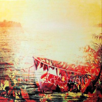 Am See, 2016, 50 x 50 cm, Leinwandprint mit Acrylfarbe und Gel Finish