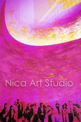 Guggenheim, 2017, 20 x 30 cm, Fotografie mit Ölfarbe