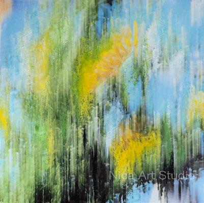 Paradiesvogel Busch, 2018, 80 x 80 cm, Alu Dibond Druck mit Ölfarbe