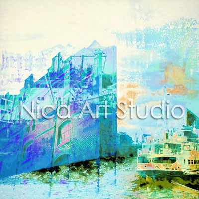Harbour tone in blue, 2015, 1 : 1 format, print