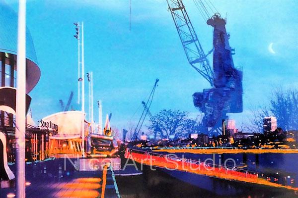 Am Theater im Hafen, 2017, 30 x 20 cm, Fotografie mit Ölfarbe