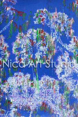 Palmen blau, 2014, 20 x 30 cm, Fotografie mit Ölfarbe