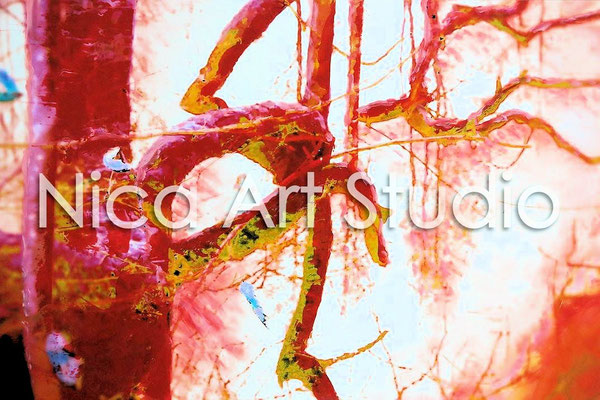 Red mirrored branches, 2015, 30 x 20 cm, photograph with oil paint