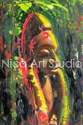 Ghana figure red-yellow, 2013, 20 x 30 cm, photograph with oil paint