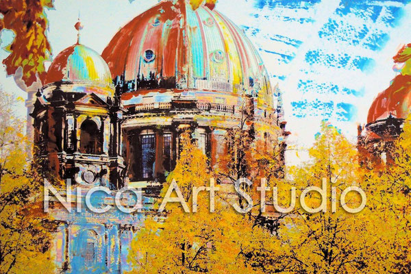 B9, Berlin Cathedral over the trees, 2015, 30 x 20 cm, photograph with oil paint