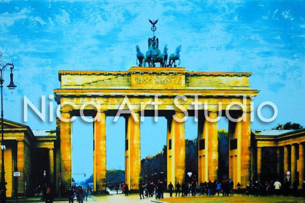 B49, Brandenburger Tor sonnig, 2017, 30 x 20 cm, Fotografie mit Ölfarbe