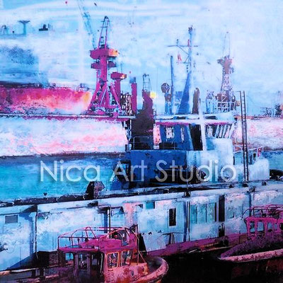 Ships in the harbour, 2016, 1 : 1 format, print