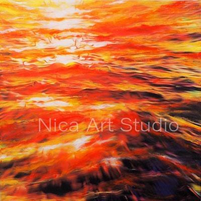 Wellen, 2018, 60 x 60 cm, Leinwandprint mit Acrylfarbe