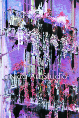 Balconies in purple, 2015,  20 x 30 cm, photography with oil color