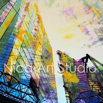 B13, Potsdamer Platz und Dach, 2015, 20 x 20 cm, Fotografie mit Ölfarbe