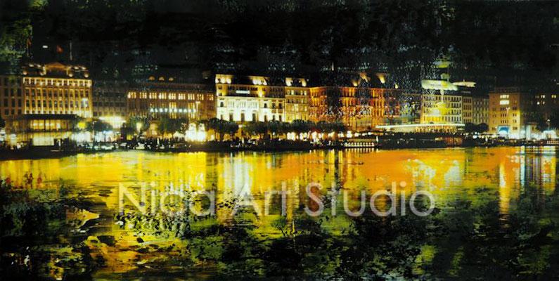 An der Alster nachts, 2017, 30 x 15 cm, Fotografie mit Ölfarbe