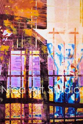B17, Alex, Potsdamer Platz & wall breakthrough, 2015, 20 x 30 cm, photograph with oil paint