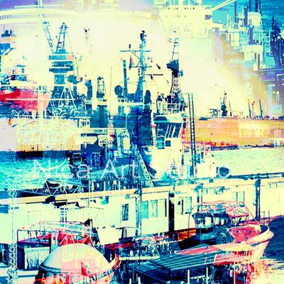 Im Hafen, 2017, 30 x 30 cm, Alu Dibond Print